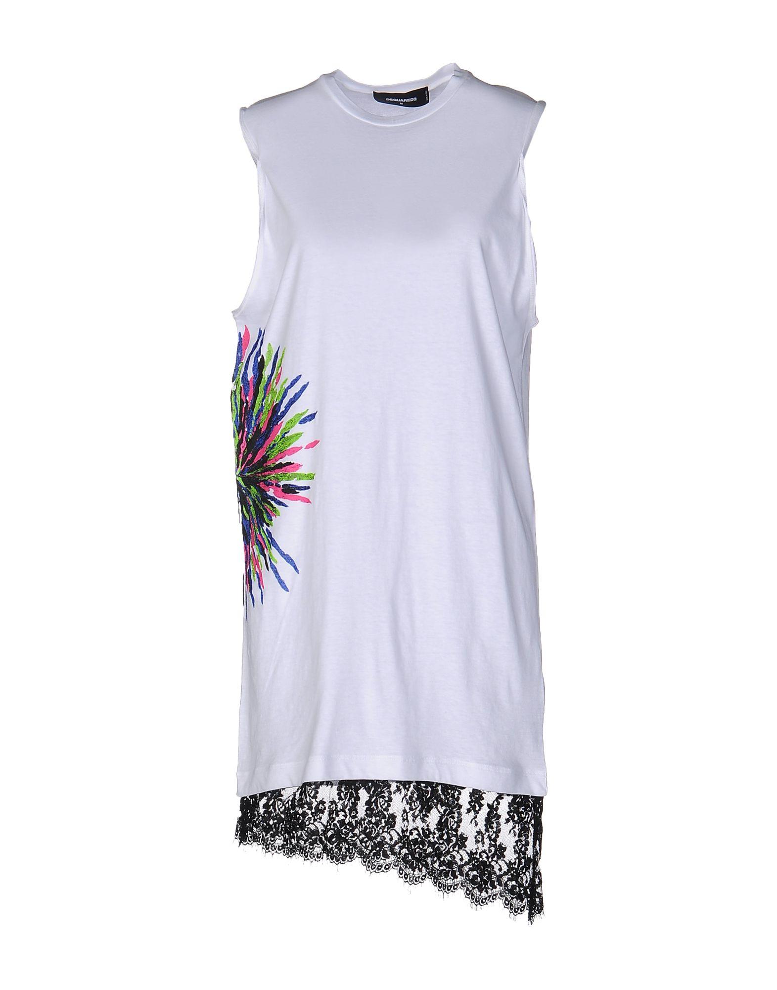 DSQUARED2 Короткое платье платье без рукавов с кружевной вставкой на спинке