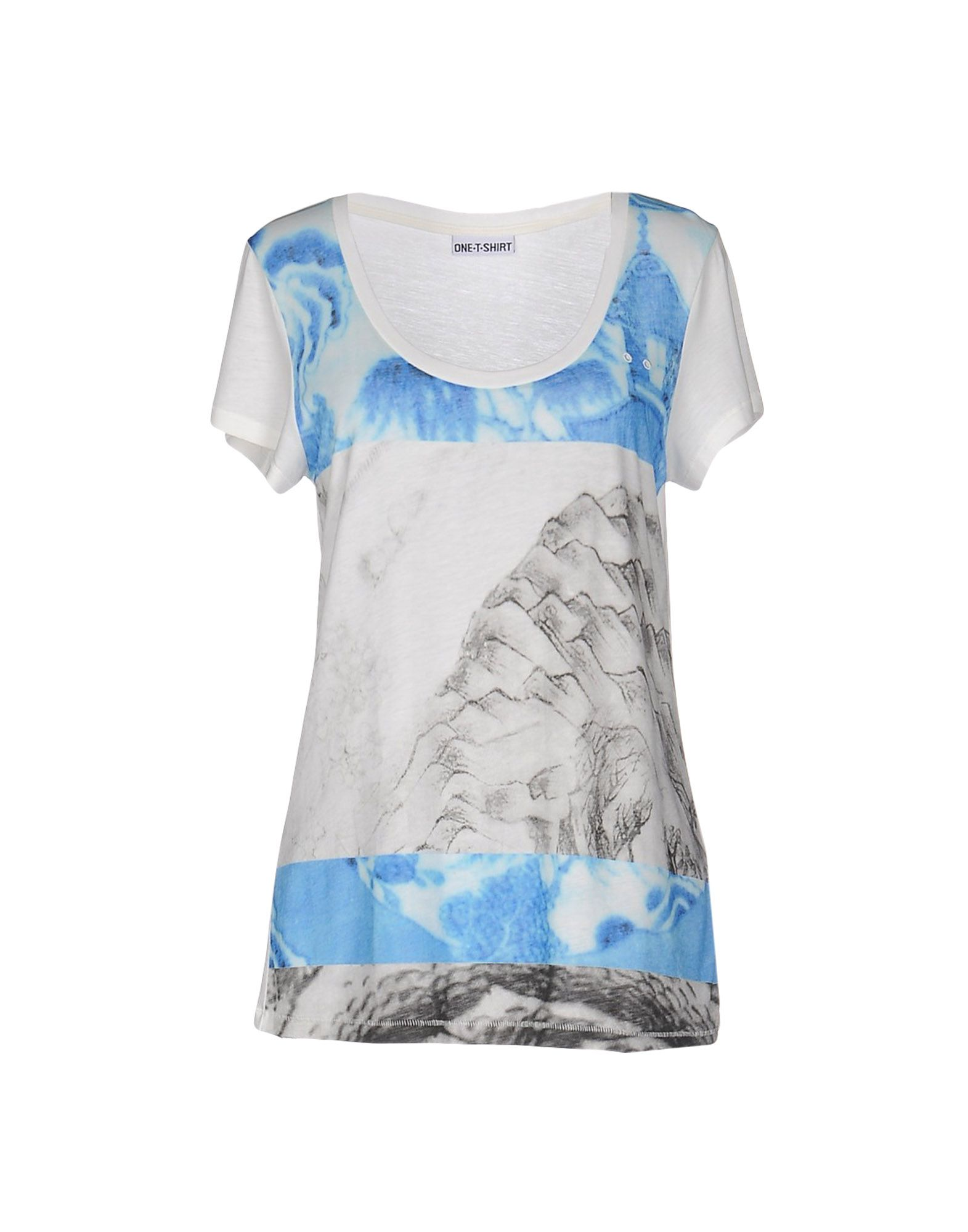 ONE T SHIRT Футболка white letter printed one shoulder short sleeves t shirt