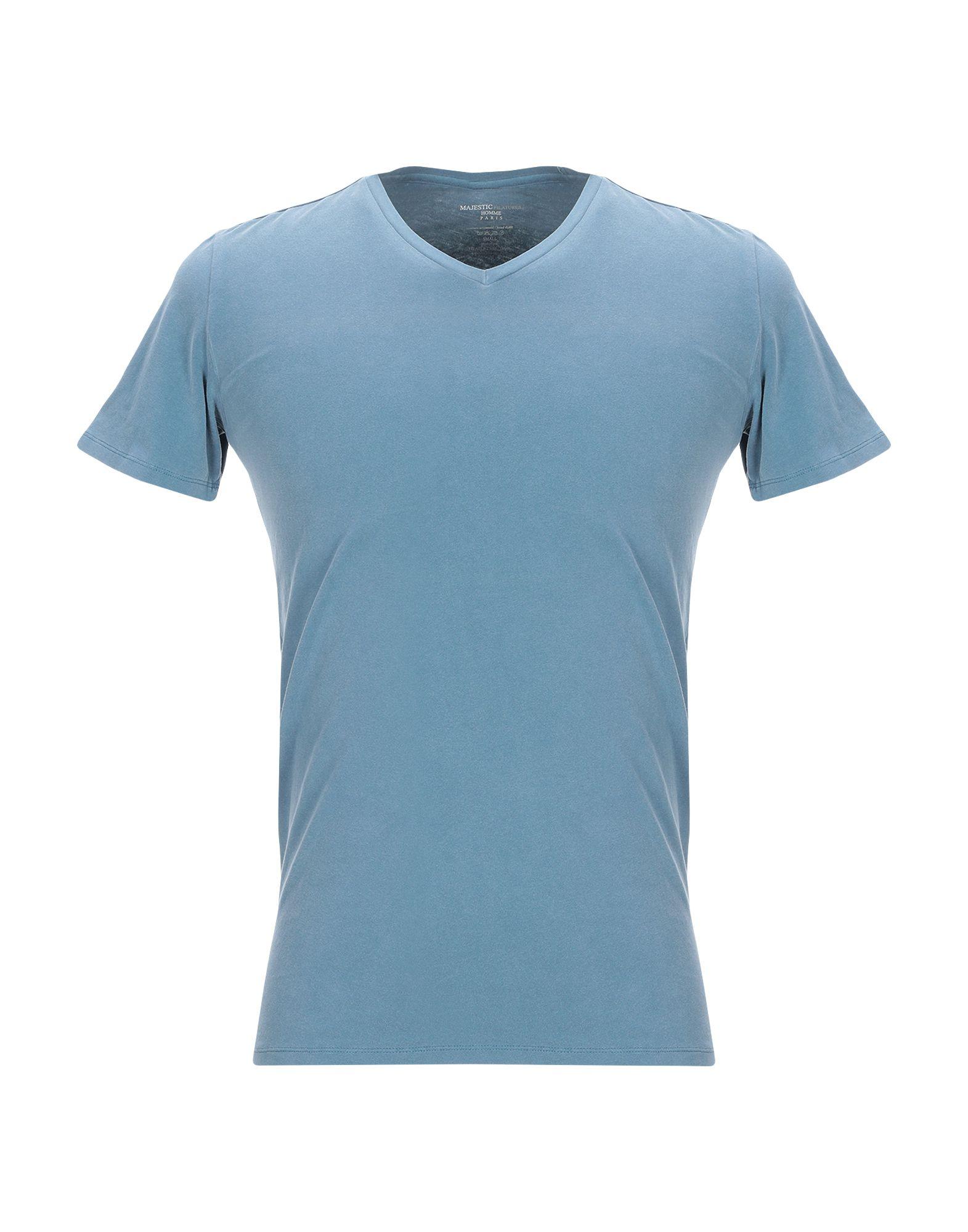 《期間限定セール開催中!》MAJESTIC FILATURES メンズ T シャツ ブルーグレー S コットン 94% / ポリウレタン 6%