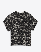 SAINT LAURENT Tops and Blouses D Open Shoulder Blouse in Black and White Star Printed Silk Crêpe f