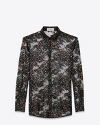 SAINT LAURENT Top e Bluse D Camicia con collo PARIS nera in pizzo di cotone e stars multicolore f