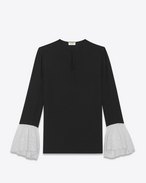SAINT LAURENT Tops and Blouses D Contrasting Bell Sleeve Blouse in Black and Shell Silk Georgette f