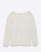 SAINT LAURENT Top e Bluse D Camicia traforata Peasant color conchiglia in seta, viscosa e cotone f