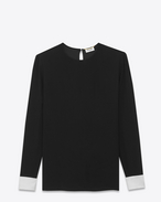 SAINT LAURENT Top e Bluse D Blusa con polsini a contrasto nera e color conchiglia in raso f