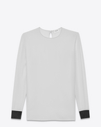 SAINT LAURENT Tops and Blouses D Contrasting Cuff Blouse in Shell and Black Satin f