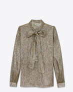 SAINT LAURENT Tops and Blouses D Long Sleeve Lavaliere Blouse in Gold and Silver Silk and Lurex Muslin f