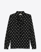 Long Sleeve Lavaliere Blouse in Black and White in Polka Dot Viscose