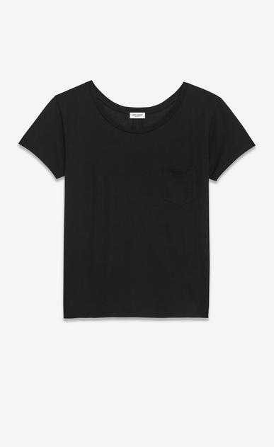 T-shirt col danseuse en jersey de coton noir