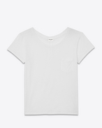 SAINT LAURENT T-Shirt and Jersey D classic ballet collar t-shirt in white cotton jersey f