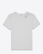 SAINT LAURENT T-Shirt and Jersey D Short Sleeve Constellation T-Shirt in Ivory and Black Stars and Moon Printed Cotton Jersey f