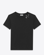 SAINT LAURENT T-Shirt and Jersey D Short Sleeve Constellation T-Shirt in Black and Ivory Stars and Moon Printed Cotton Jersey f