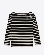 SAINT LAURENT T-Shirt and Jersey D Marinière Marlon Crystal Stars Long Sleeve top in Ivory and Black Striped Cotton f