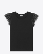 SAINT LAURENT Tops and Blouses D Flutter Sleeve T Shirt in Black Cotton Jersey and Lace f