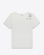 SAINT LAURENT T-Shirt and Jersey D Short Sleeve Crystal Stars T-Shirt in Ivory Cotton Jersey f