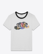 "SAINT LAURENT T-Shirt and Jersey D Short Sleeve ""LOVE"" Ringer T-Shirt in Ivory, Black and Multicolor Printed Cotton Jersey f"
