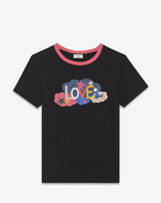 "SAINT LAURENT T-Shirt and Jersey D Short Sleeve ""LOVE"" Ringer T-Shirt in Black, Fuchsia and Multicolor Printed Cotton Jersey f"