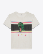 SAINT LAURENT T-Shirt and Jersey D Short Sleeve T-REX T-Shirt in Ivory and Multicolor Printed Cotton Jersey f