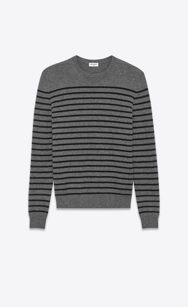 SAINT LAURENT Cashmere Tops U Classic Crewneck Sweater in Medium Heather Grey and Black Striped Cashmere a_V4