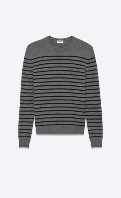 SAINT LAURENT Cashmere Tops U Classic Crewneck Sweater in Medium Heather Grey and Black Striped Cashmere v4