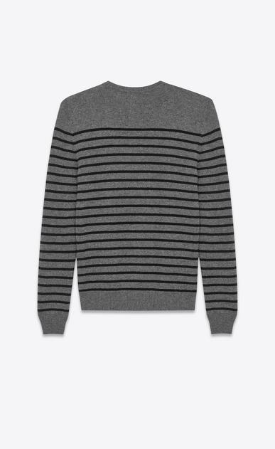 SAINT LAURENT Cashmere Tops U Classic Crewneck Sweater in Medium Heather Grey and Black Striped Cashmere b_V4