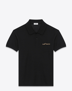 "SAINT LAURENT Polos U Classic ""SWEET DREAMS"" Polo Shirt in Black and Gold Piqué Cotton f"