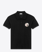 "SAINT LAURENT Polos U Classic ""NEVER SAY NEVER"" Patch Polo Shirt in Black Piqué Cotton f"
