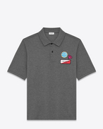 "SAINT LAURENT Polos U Classic ""NEVER SAY NEVER"" Patch Polo Shirt in Heather Grey Piqué Cotton f"