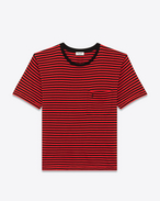 YSL Short Sleeve T-Shirt in Black and Red Striped Cotton Jersey