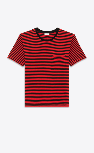 SAINT LAURENT T-Shirt and Jersey U YSL Short Sleeve T-Shirt in Black and Red Striped Cotton Jersey a_V4