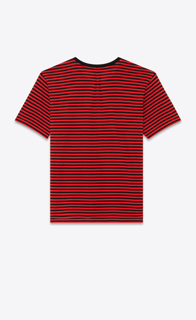 SAINT LAURENT T-Shirt and Jersey U YSL Short Sleeve T-Shirt in Black and Red Striped Cotton Jersey b_V4