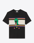 SAINT LAURENT T-Shirt and Jersey U Short Sleeve T-REX T-Shirt in Black and Multicolor Printed Cotton Jersey f