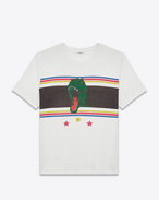 SAINT LAURENT T-Shirt and Jersey U Short Sleeve T-REX T-Shirt in Ivory and Multicolor Printed Cotton Jersey f