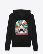 "SAINT LAURENT Sportswear Tops U ""SWEET DREAMS"" Shark Patch Hooded Sweatshirt in Black French Terrycloth and Multicolor Metallic Leather f"