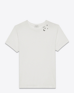SAINT LAURENT T-Shirt and Jersey U Punk Rock short sleeve t-shirt in ivory and black moon and stars printed cotton jersey f