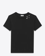 SAINT LAURENT T-Shirt and Jersey U Punk Rock short sleeve t-shirt in black and ivory moon and stars printed cotton jersey f