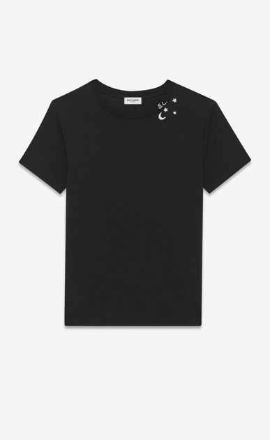SAINT LAURENT T-Shirt and Jersey U Punk Rock short sleeve t-shirt in black and ivory moon and stars printed cotton jersey a_V4