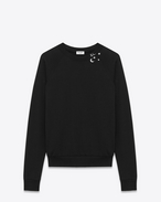 SAINT LAURENT Sportswear Tops U Classic Sweatshirt in Black and Off White Constellation Printed French Terrycloth f