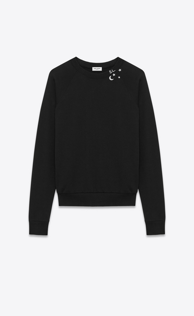 SAINT LAURENT Sportswear Tops U Classic Sweatshirt in Black and Off White Constellation Printed French Terrycloth a_V4
