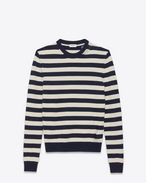 SAINT LAURENT Cashmere Tops U GRUNGE Crewneck sweater in Navy Blue and Ivory Striped Wool and Cashmere f