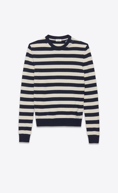SAINT LAURENT Cashmere Tops U GRUNGE Crewneck sweater in Navy Blue and Ivory Striped Wool and Cashmere a_V4