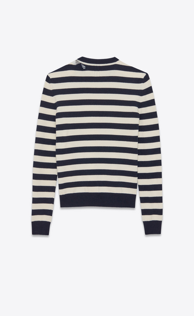 SAINT LAURENT Cashmere Tops U GRUNGE Crewneck sweater in Navy Blue and Ivory Striped Wool and Cashmere b_V4