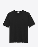 YSL Short Sleeve T-Shirt in Black Overdyed Used Cotton Jersey