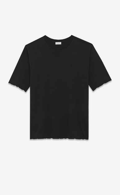 SAINT LAURENT T-Shirt and Jersey U YSL Short Sleeve T-Shirt in Black Overdyed Used Cotton Jersey a_V4