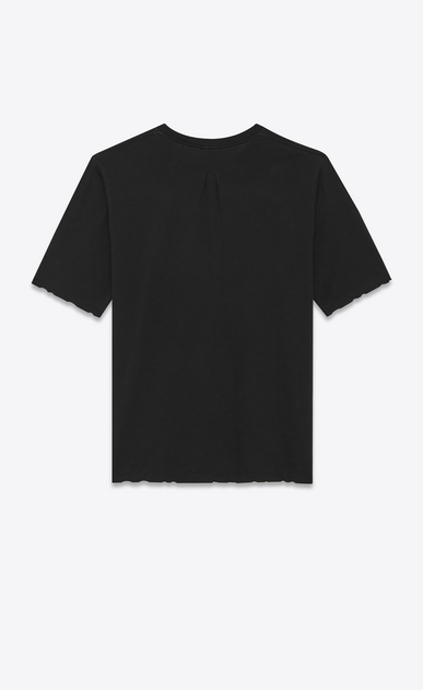SAINT LAURENT T-Shirt and Jersey U YSL Short Sleeve T-Shirt in Black Overdyed Used Cotton Jersey b_V4