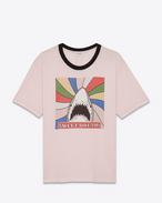 SAINT LAURENT T-Shirts et Jersey U T-shirt requin « SWEET DREAMS » à manches courtes et à bords contrastants en jersey de coton rose pâle, noir et multicolore f