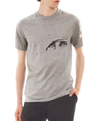 "LANVIN Polos & T-Shirts U ""GAZE"" GREY SLIM-FIT T-SHIRT BY CÉDRIC RIVRAIN F"