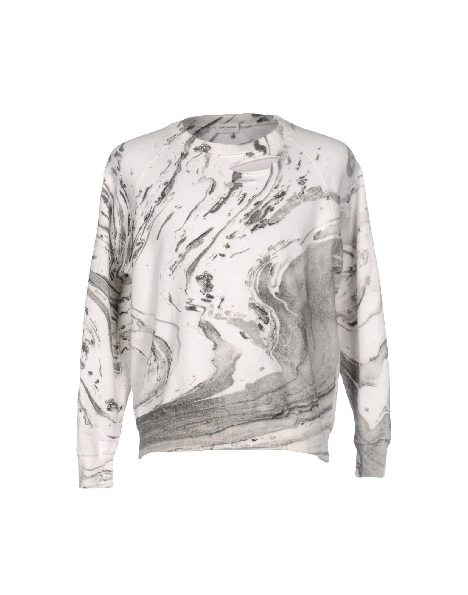 《送料無料》SAINT LAURENT メンズ スウェットシャツ ホワイト XL コットン 100%