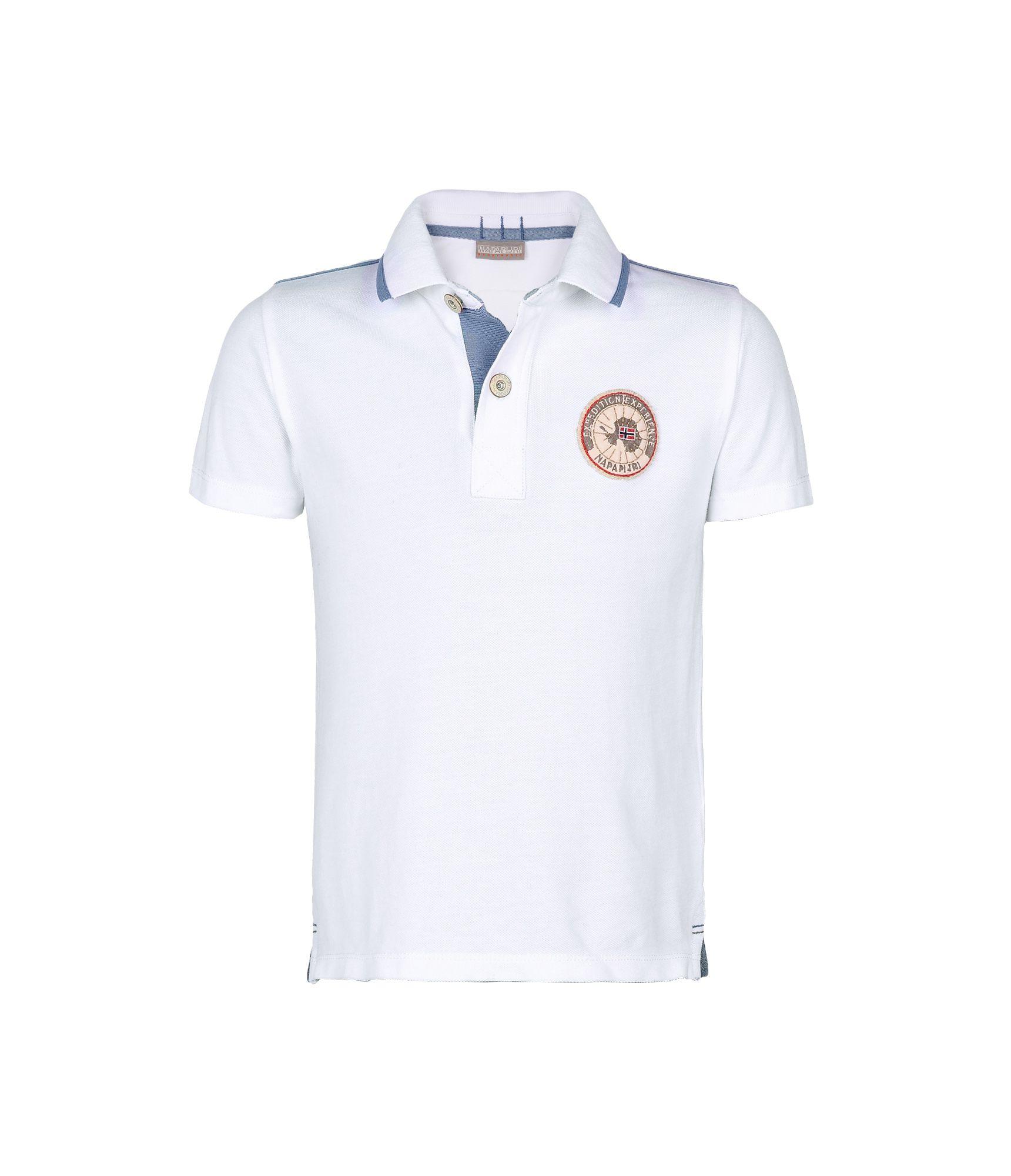 Artikel klicken und genauer betrachten! - Polo-Shirt mit kurzen Ärmeln 2Knöpfe Rippenstrickkragen Seitenschlitze Signaturdetails | im Online Shop kaufen