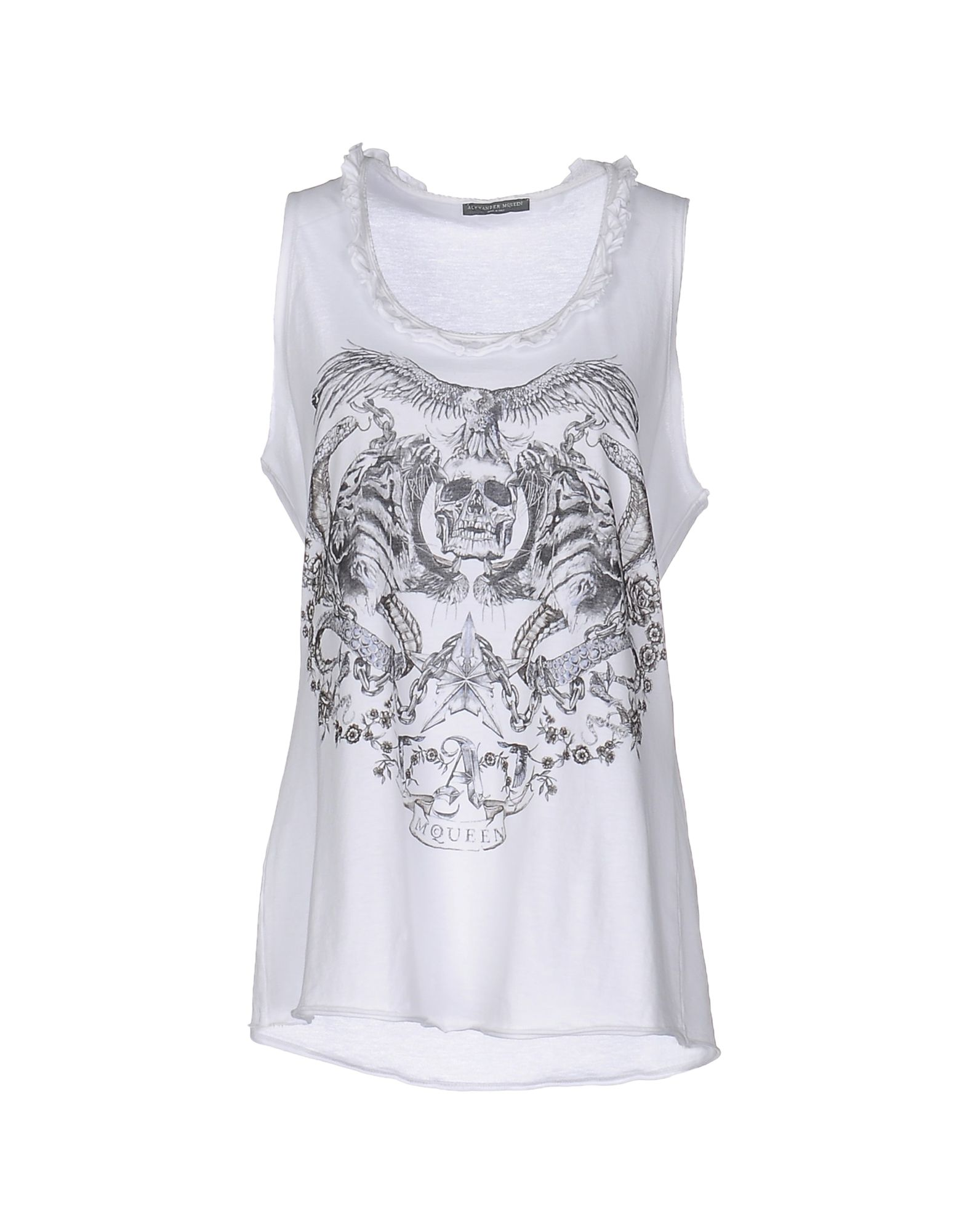 ALEXANDER MCQUEEN Tank tops. jersey, solid color, round collar, sleeveless, print, logo, no pockets. 100% Cotton