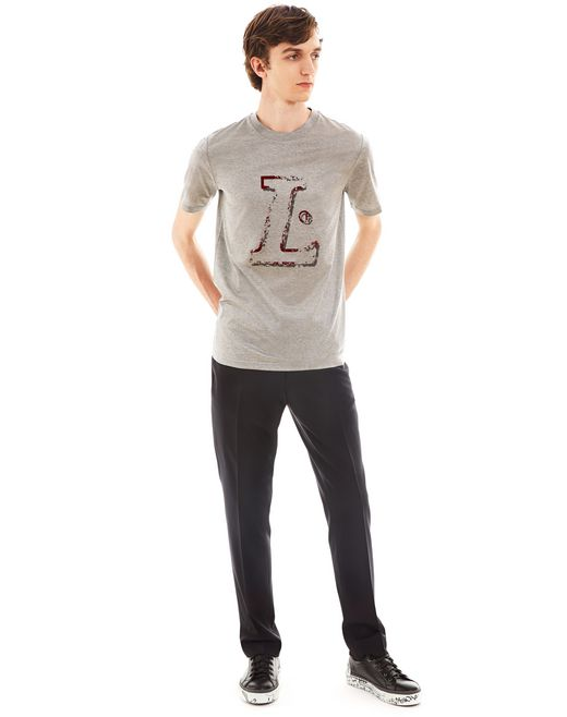 "lanvin ""l"" grey slim-fit t-shirt men"